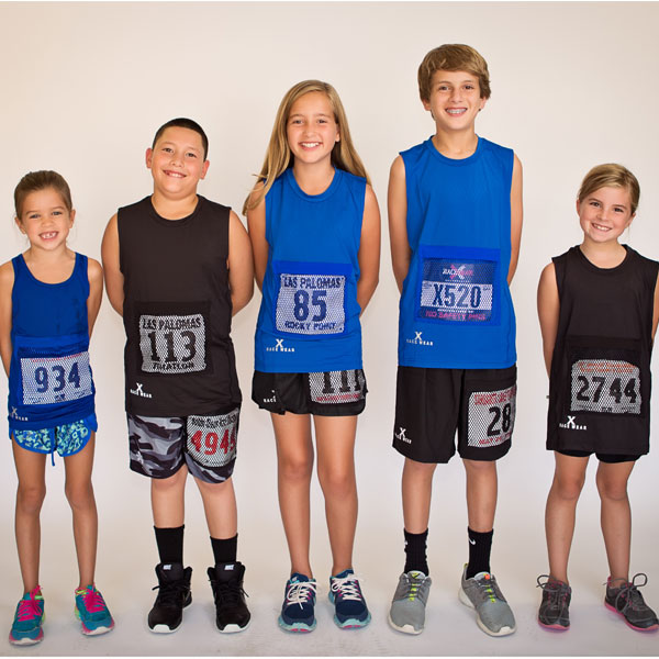 Youth Sleeveless Top with Race Bib Pocket in Bllue