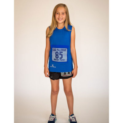 Youth Sleeveless Top with Race Bib Pocket in Blue