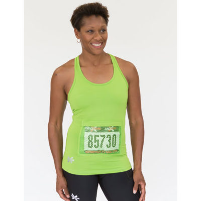 lime green women's racebarck tank top with bib pocket