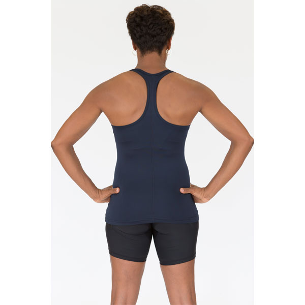 Racerback Tank Top With Bib Protector Pocket in Navy