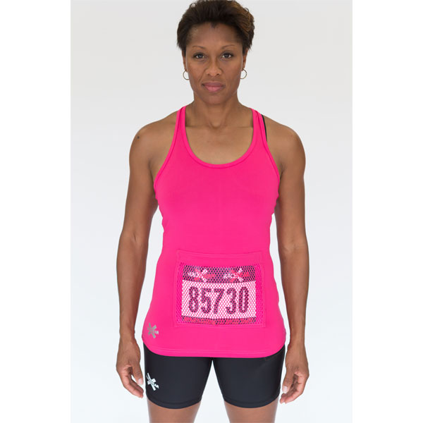 Racerback Tank Top With Bib Protector Pocket in Pink