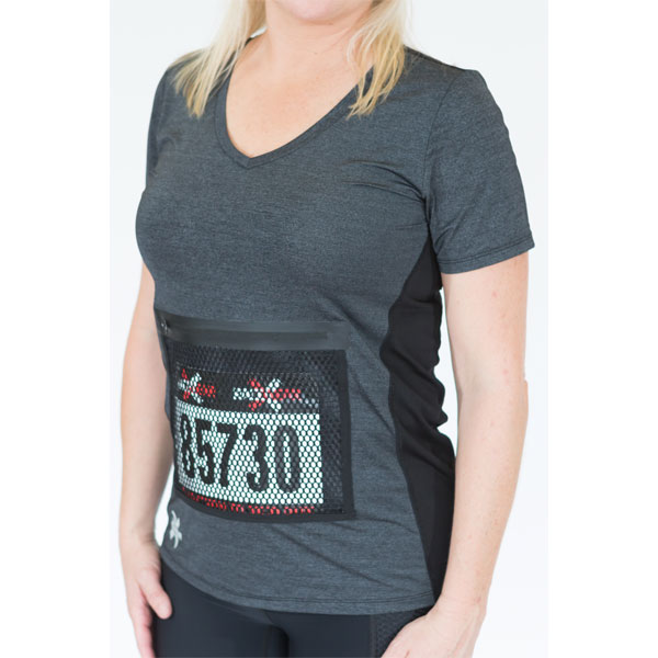 Womens Running Shirt BREEZ Heather Black