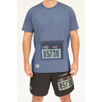 Men's running shirt with bib protector pocket, in navy. Breez line